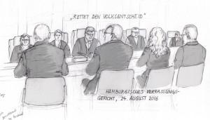 """""""Rettet den Volksentscheid"""", Mündliche Verhandlung vor dem Hamburgen Verfassger, 24.08.2016, (C) Christine Klein, TEl: 0175- 3500117, www.stratford2000.de"""